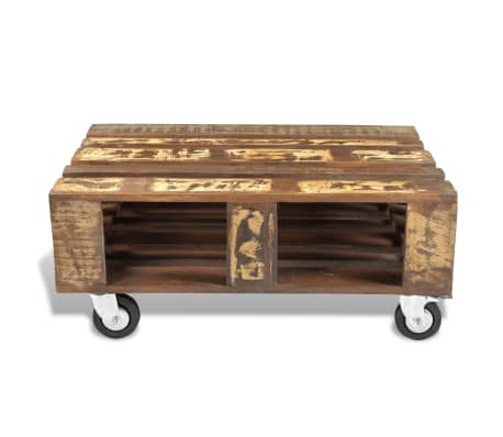 vidaXL Coffee Table with 4 Wheels Reclaimed Wood[6/12]