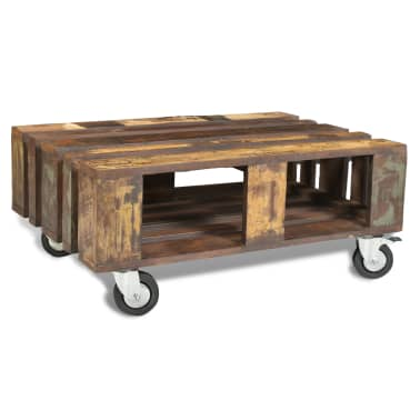 vidaXL Coffee Table with 4 Wheels Reclaimed Wood[4/12]