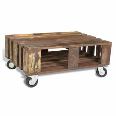 vidaXL Coffee Table with 4 Wheels Reclaimed Wood[5/12]
