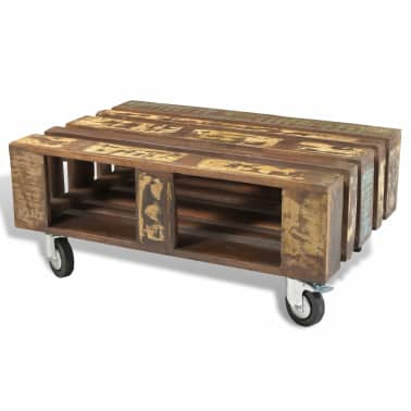 vidaXL Coffee Table with 4 Wheels Reclaimed Wood[7/12]