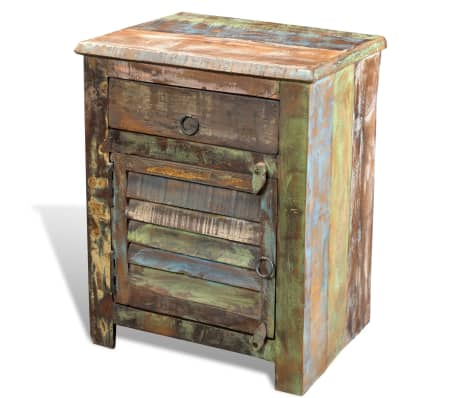 vidaXL End Table with 1 Drawer 1 Door Reclaimed Wood[1/18]