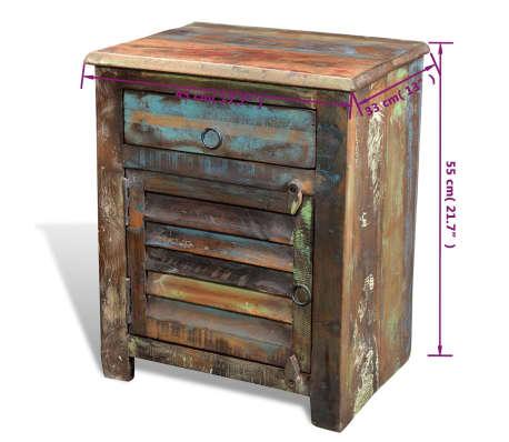 vidaXL End Table with 1 Drawer 1 Door Reclaimed Wood[12/18]