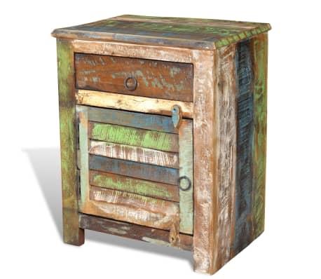 vidaXL End Table with 1 Drawer 1 Door Reclaimed Wood[14/18]