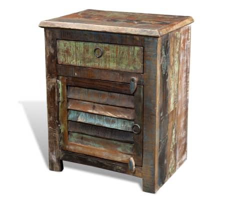 vidaXL End Table with 1 Drawer 1 Door Reclaimed Wood[16/18]
