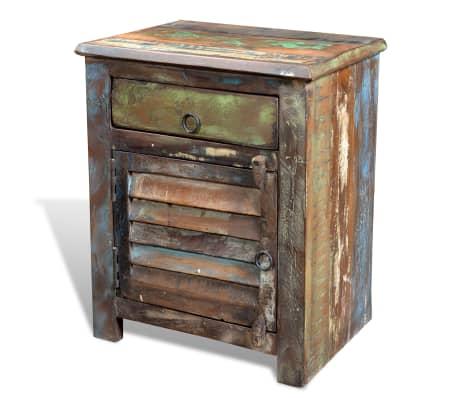 vidaXL End Table with 1 Drawer 1 Door Reclaimed Wood[18/18]