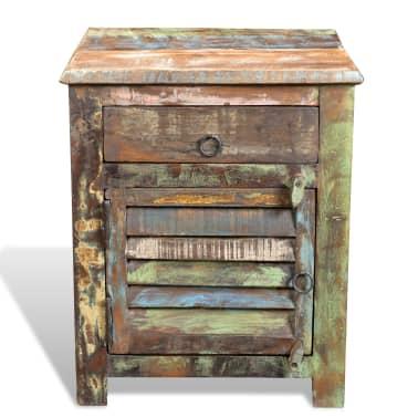 vidaXL End Table with 1 Drawer 1 Door Reclaimed Wood[2/18]