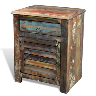 vidaXL End Table with 1 Drawer 1 Door Reclaimed Wood[15/18]