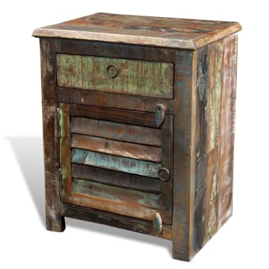 vidaXL End Table with 1 Drawer 1 Door Reclaimed Wood[16/18]