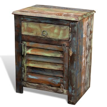 vidaXL End Table with 1 Drawer 1 Door Reclaimed Wood[17/18]
