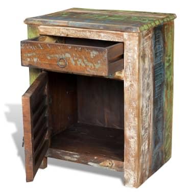 vidaXL End Table with 1 Drawer 1 Door Reclaimed Wood[5/18]