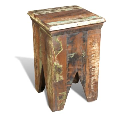 Reclaimed Wood Stool Hocker Antique Chair[3/7]