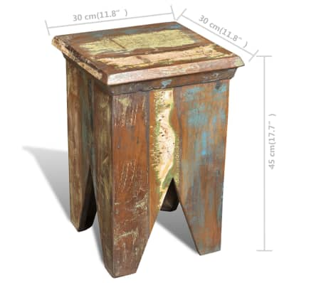 Reclaimed Wood Stool Hocker Antique Chair[7/7]