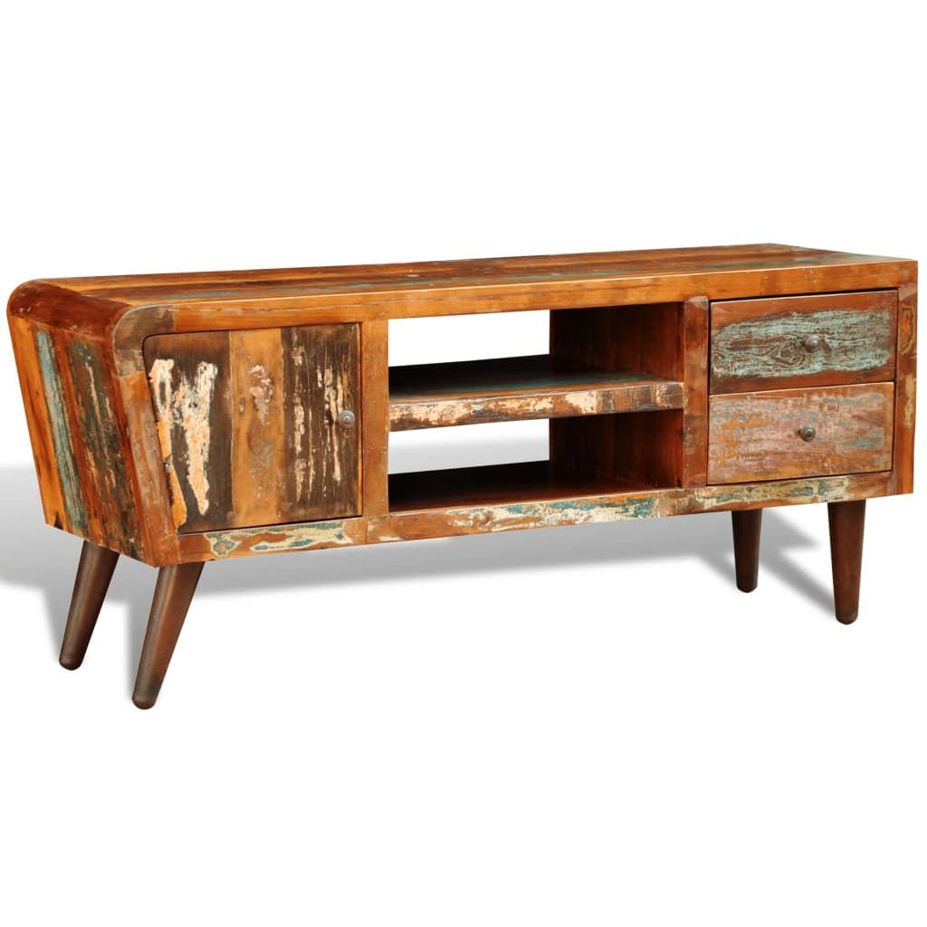 Televizní skříňka ze znovu použitého dřeva, 1 dveře, 2 zásuvky