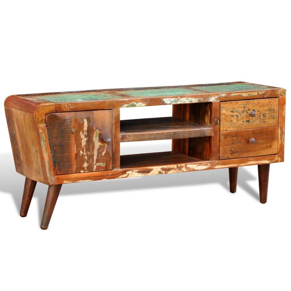 99240956 Design Antik Teak TV-Tisch Lowboard Sideboard 2 Schubladen