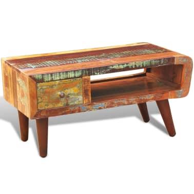 vidaxl table basse avec bord incurv et 1 tiroir bois de r cup ration. Black Bedroom Furniture Sets. Home Design Ideas