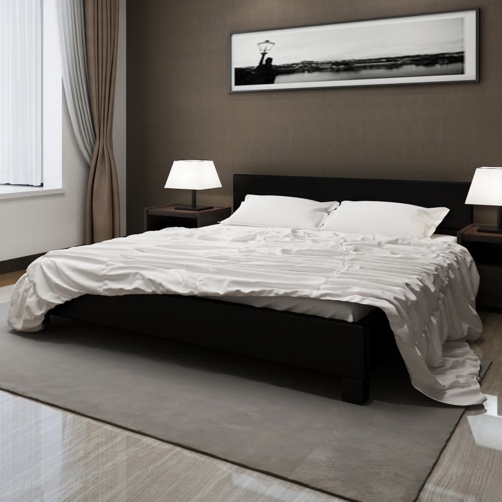 Postel z umělé kůže s matrací 180x200 cm černá