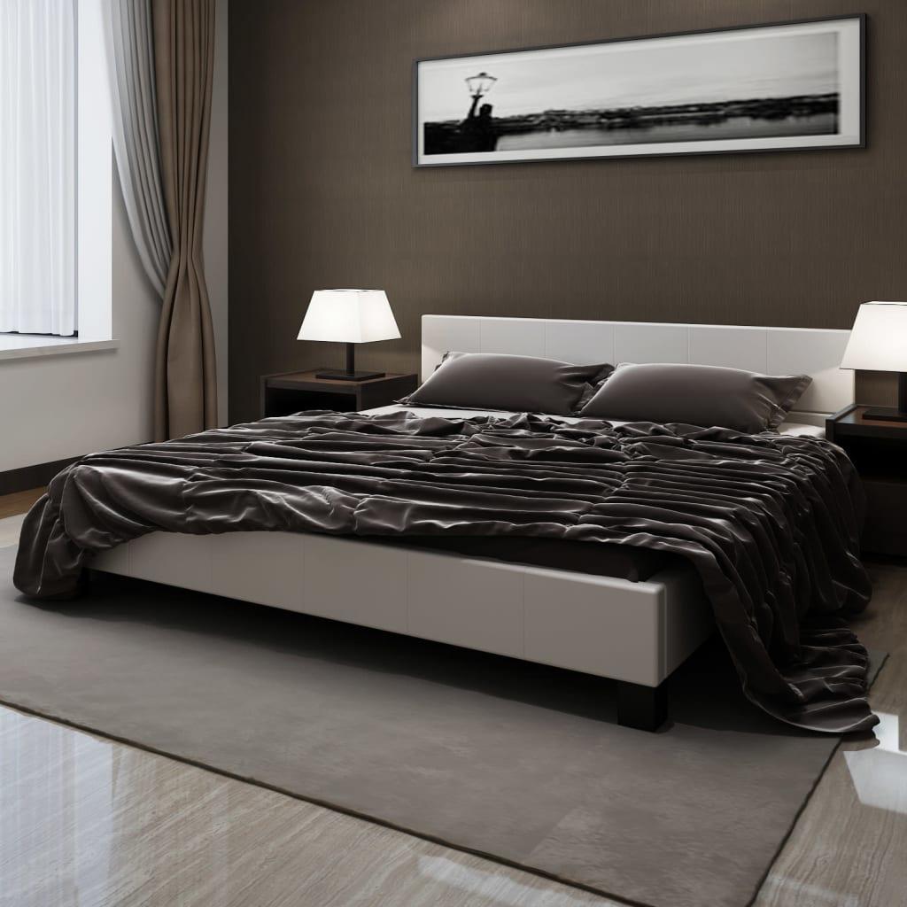 Kožený Platformový rám postele s matrací 180 x 200 cm bílá