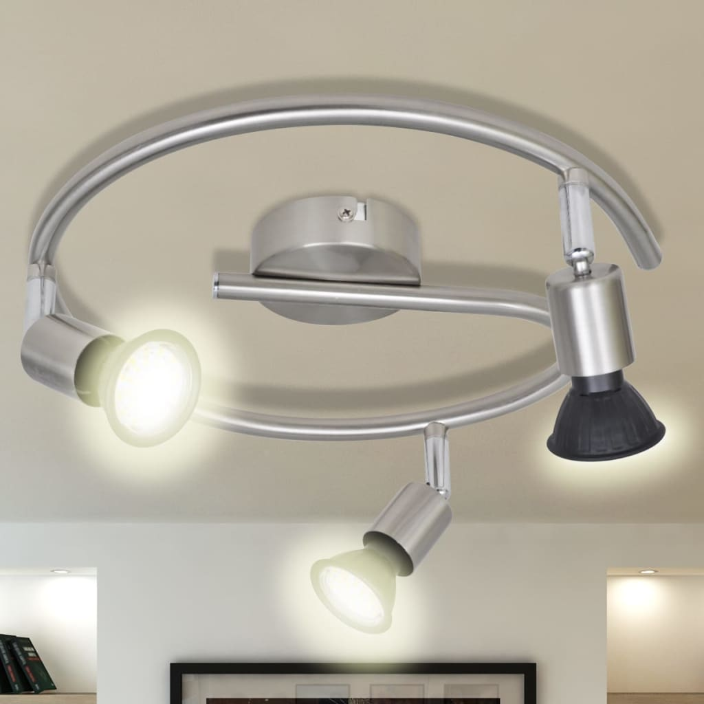 Lustră cu LED satinată cu nichel cu 3 becuri poza 2021 vidaXL