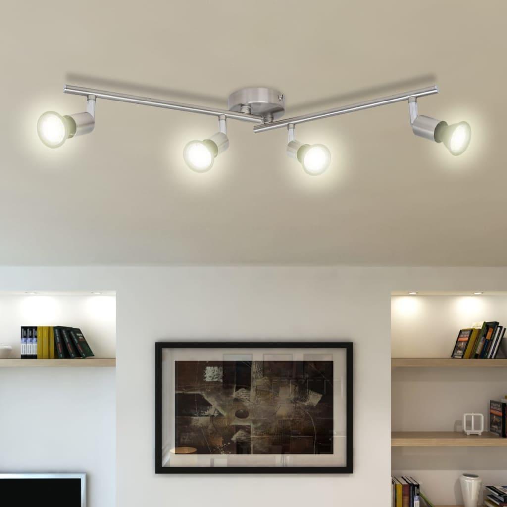 Lustră cu LED satinată cu nichel cu 4 becuri poza vidaxl.ro