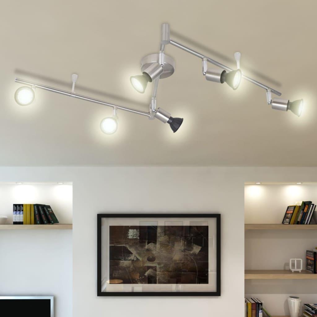 Lustră cu LED satinată cu nichel cu 6 becuri vidaxl.ro