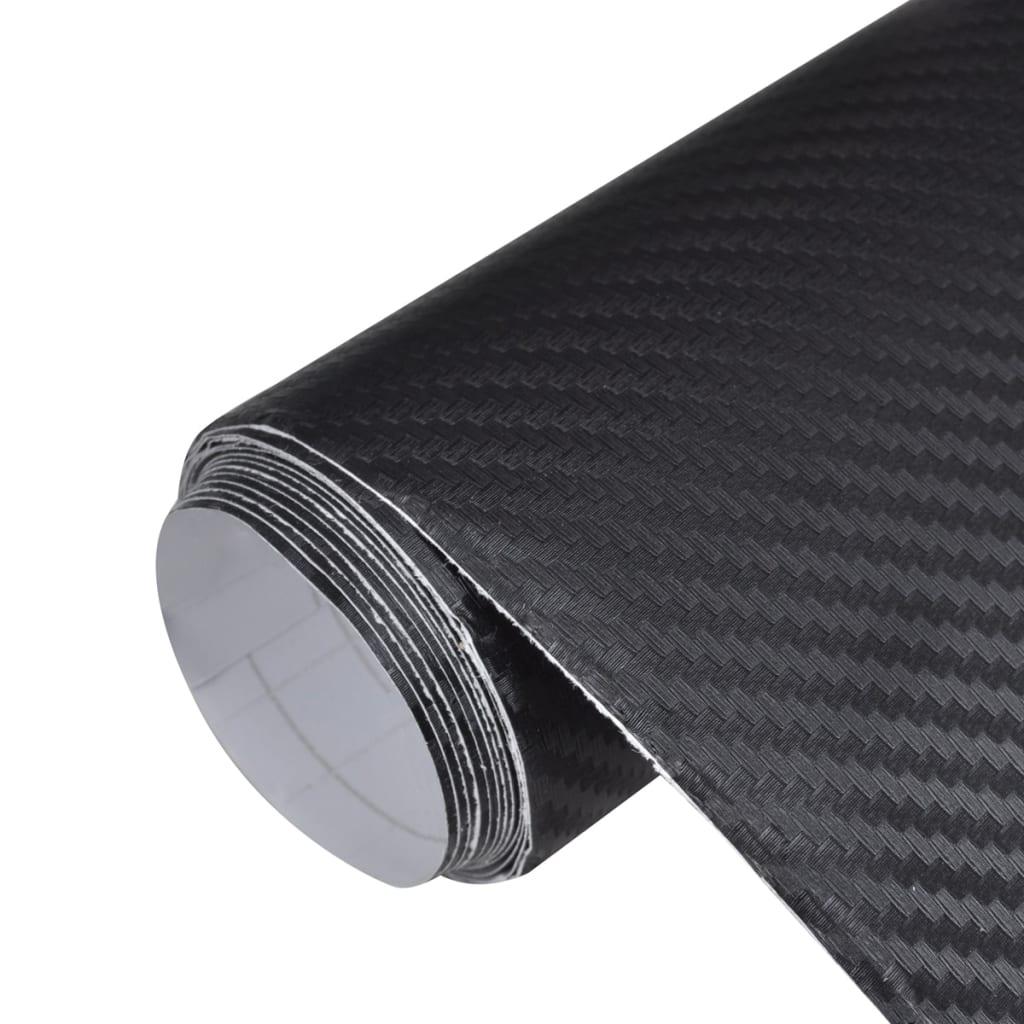 Autocolant folie din fibră de carbon 3D Negru 152 x 200 cm poza 2021 vidaXL