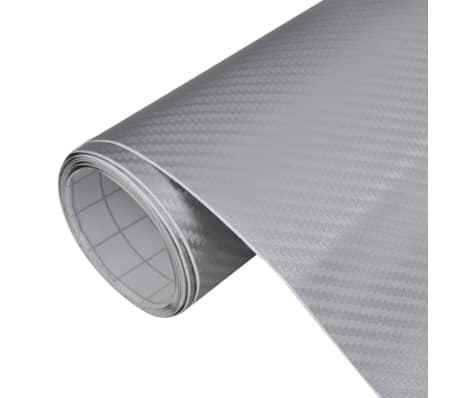 "Carbon Fiber Vinyl Car Film 3D Silver 60"" x 197""[1/6]"