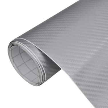 """Carbon Fiber Vinyl Car Film 3D Silver 60"""" x 197""""[1/6]"""