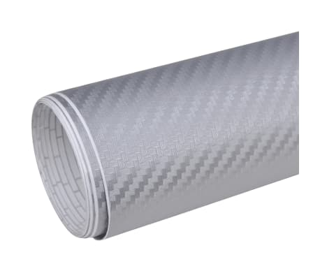 "Carbon Fiber Vinyl Car Film 3D Silver 60"" x 197""[2/6]"