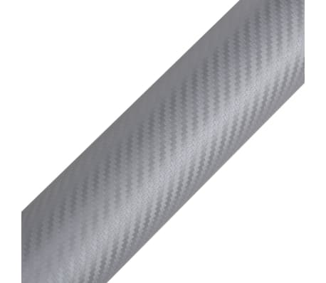 "Carbon Fiber Vinyl Car Film 3D Silver 60"" x 197""[3/6]"