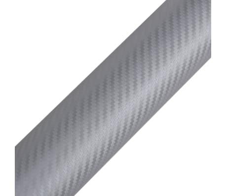 """Carbon Fiber Vinyl Car Film 3D Silver 60"""" x 197""""[3/6]"""