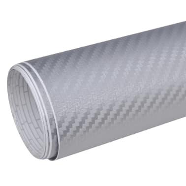"""Carbon Fiber Vinyl Car Film 3D Silver 60"""" x 197""""[2/6]"""