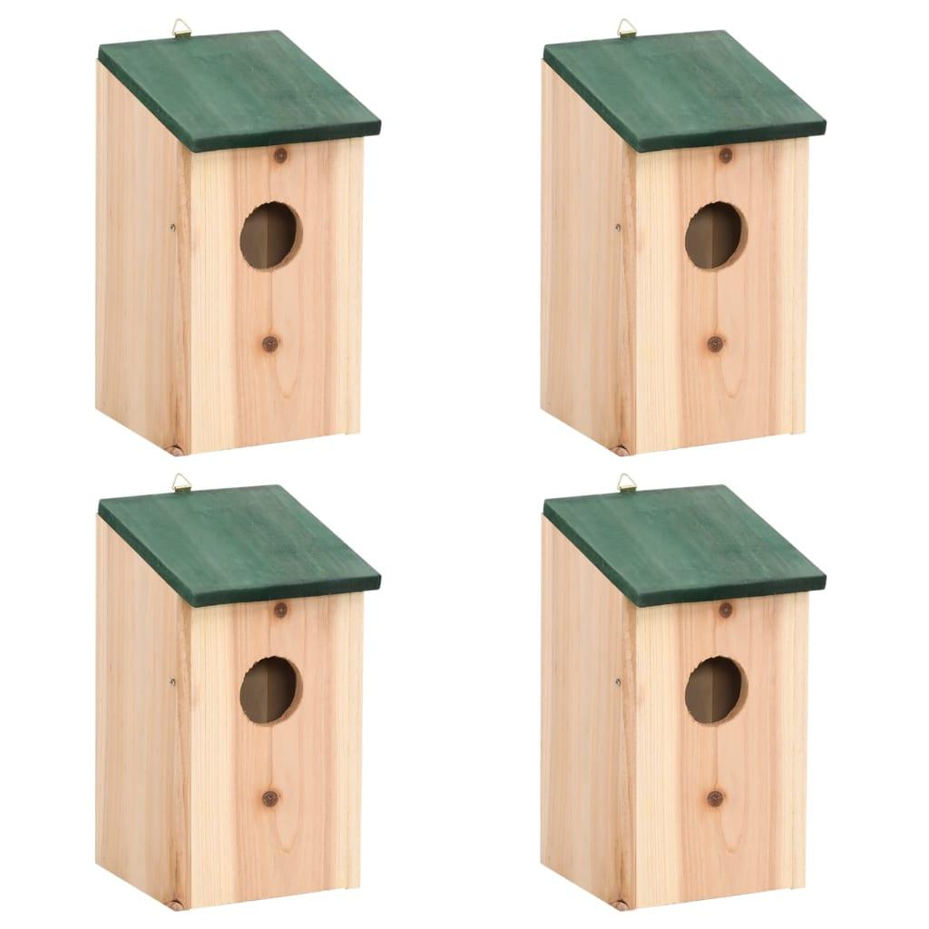 Ptačí budky 4 ks dřevěné 12 x 12 x 22 cm