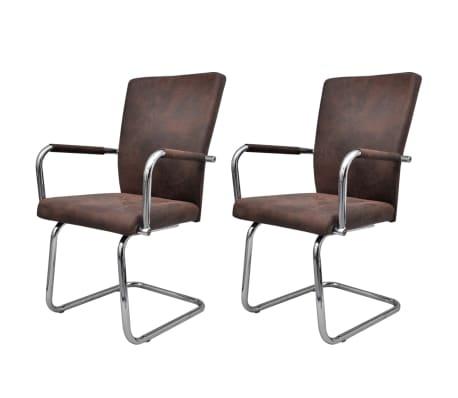 vidaXL Gembinės valgomojo kėdės, 2 vnt., rudos spalvos, dirbtinė oda