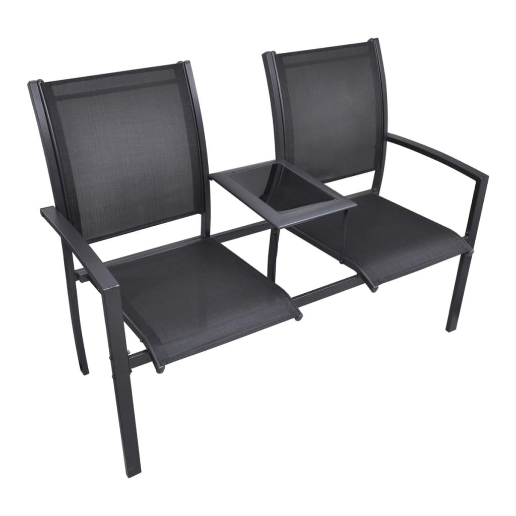 vidaXL Κάθισμα Διθέσιο Κήπου Μαύρο 131 εκ. Ατσάλι /Textilene