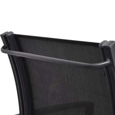 vidaXL Panchina da Giardino a 2 Posti 131 cm Acciaio e Textilene Nera[6/7]