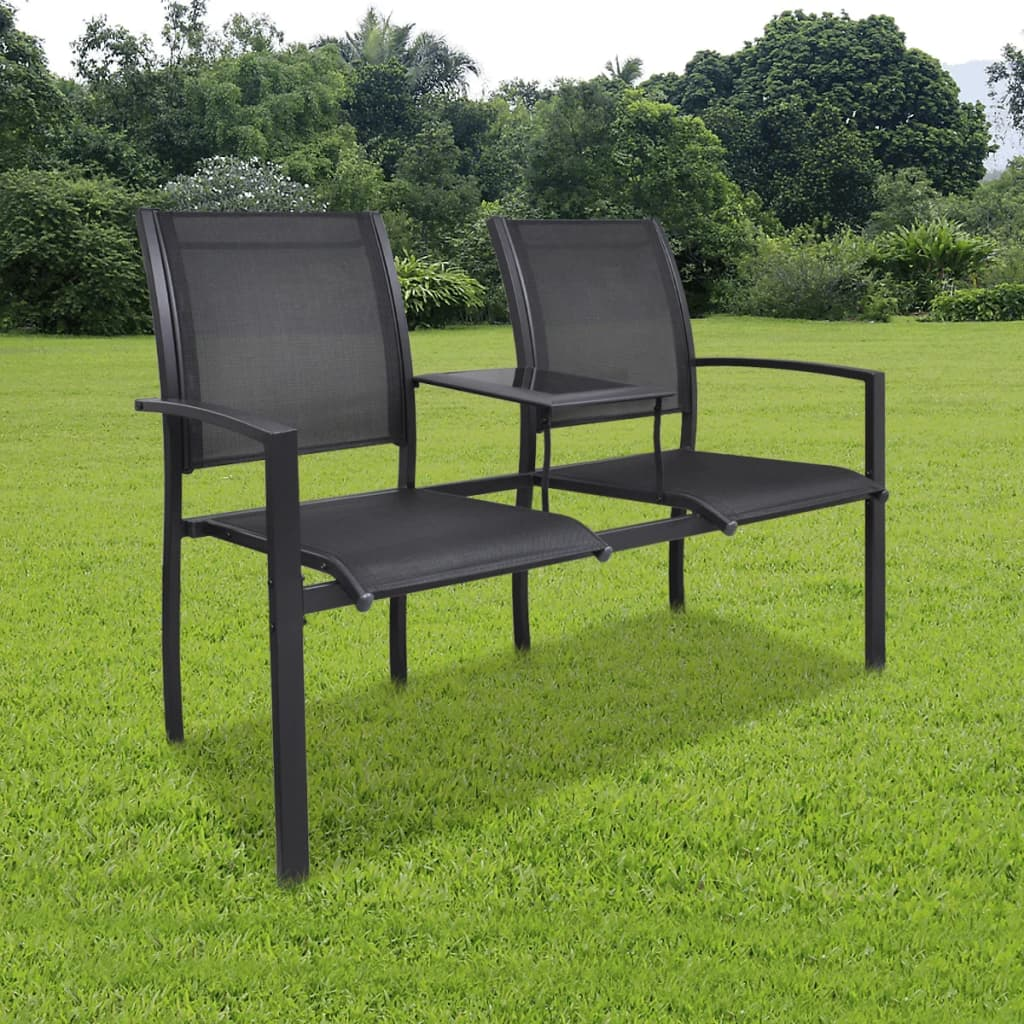 vidaXL Ocelové dvousedačkové křeslo černé textilenové
