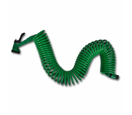 Coiled Garden Water Hose Spiral Pipe & Spray Nozzle 15 m[1/8]
