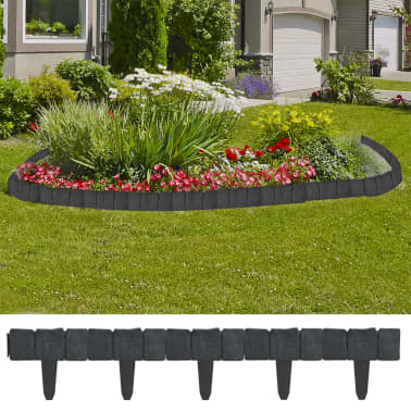 Plastic Garden / Lawn Fence Stone Look 41 pcs 32.8 ft[1/4]