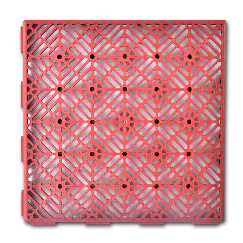 Plastové zahradní dlaždice - 29 x 29 cm  - 24 ks - tmavě červené