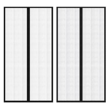 vidaXL Insektsnät till dörr 210 x 100 cm 2 st magnet svart[1/7]