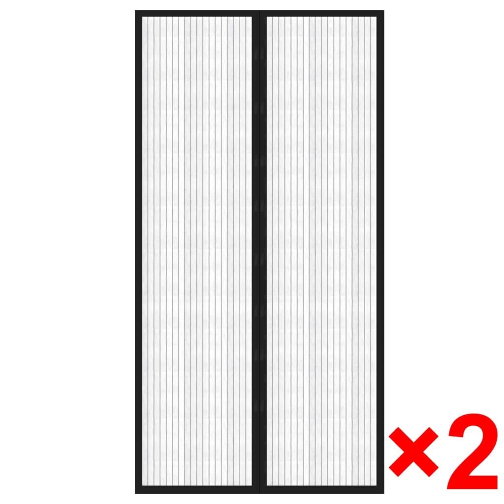 vidaXL Horgordijn met klittenband en magneet sluiting 210 x 100 cm zwart