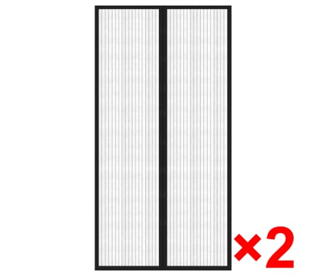 "vidaXL Insect Door Curtains 2 pcs 82.7""x39.4"" Magnet Black[2/7]"