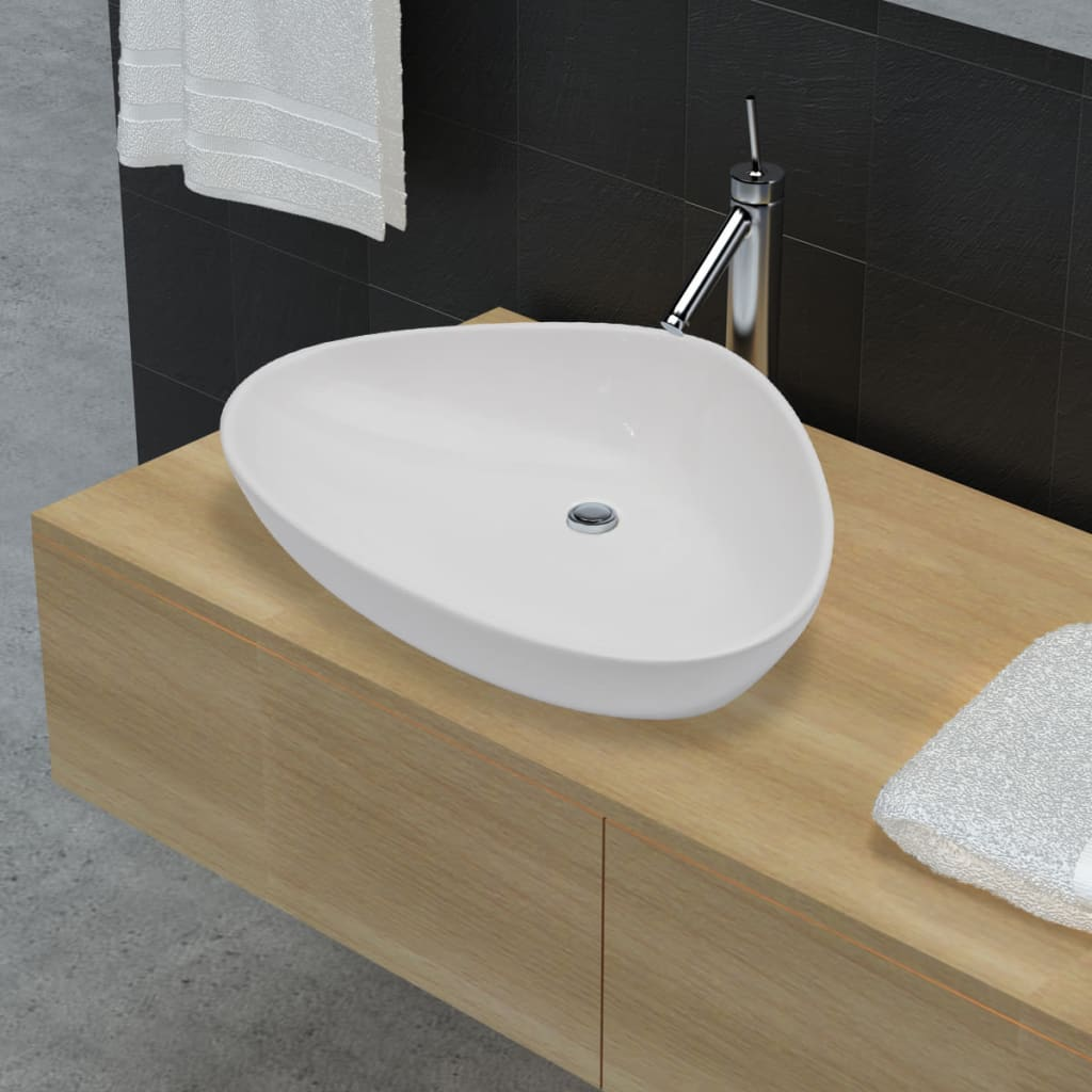 Chiuvetă triunghiulară din ceramică pentru baie, Alb poza vidaxl.ro