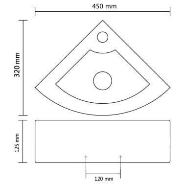 vidaXL Wastafel met overloop 45x32x12,5 cm wit[7/7]