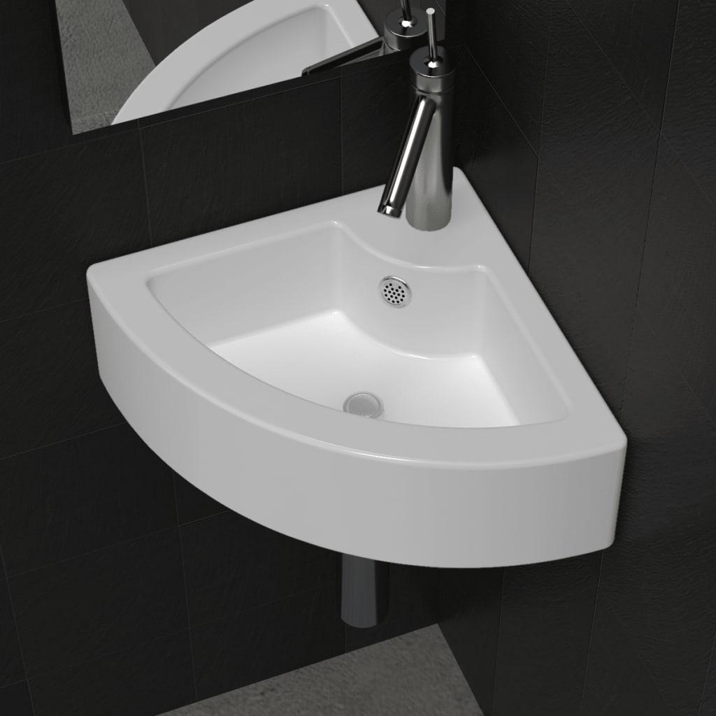 vidaXL Ceramic Sink Basin Faucet & Overflow Hole Bathroom Corner White