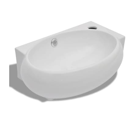 vidaXL Ceramic Sink Basin Faucet & Overflow Hole Bathroom White[2/7]