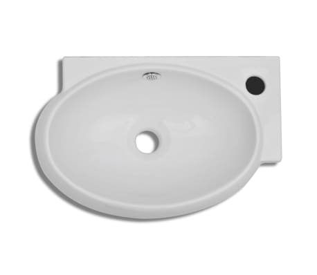 vidaXL Ceramic Sink Basin Faucet & Overflow Hole Bathroom White[4/7]