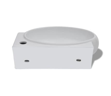 vidaXL Ceramic Sink Basin Faucet & Overflow Hole Bathroom White[6/7]