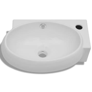 vidaXL Ceramic Sink Basin Faucet & Overflow Hole Bathroom White[3/7]