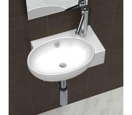 vidaXL Ceramic Sink Basin Faucet & Overflow Hole Bathroom White[1/7]